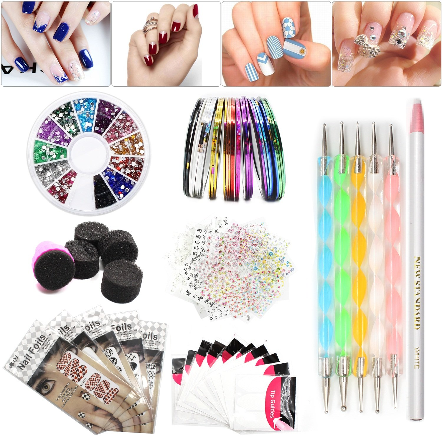 Amazon nail art set tape line nail stickers colored amazon nail art set tape line nail stickers colored rhinestones decoration 45 sheets nail art stickers gradient nails sponges for color fade prinsesfo Gallery
