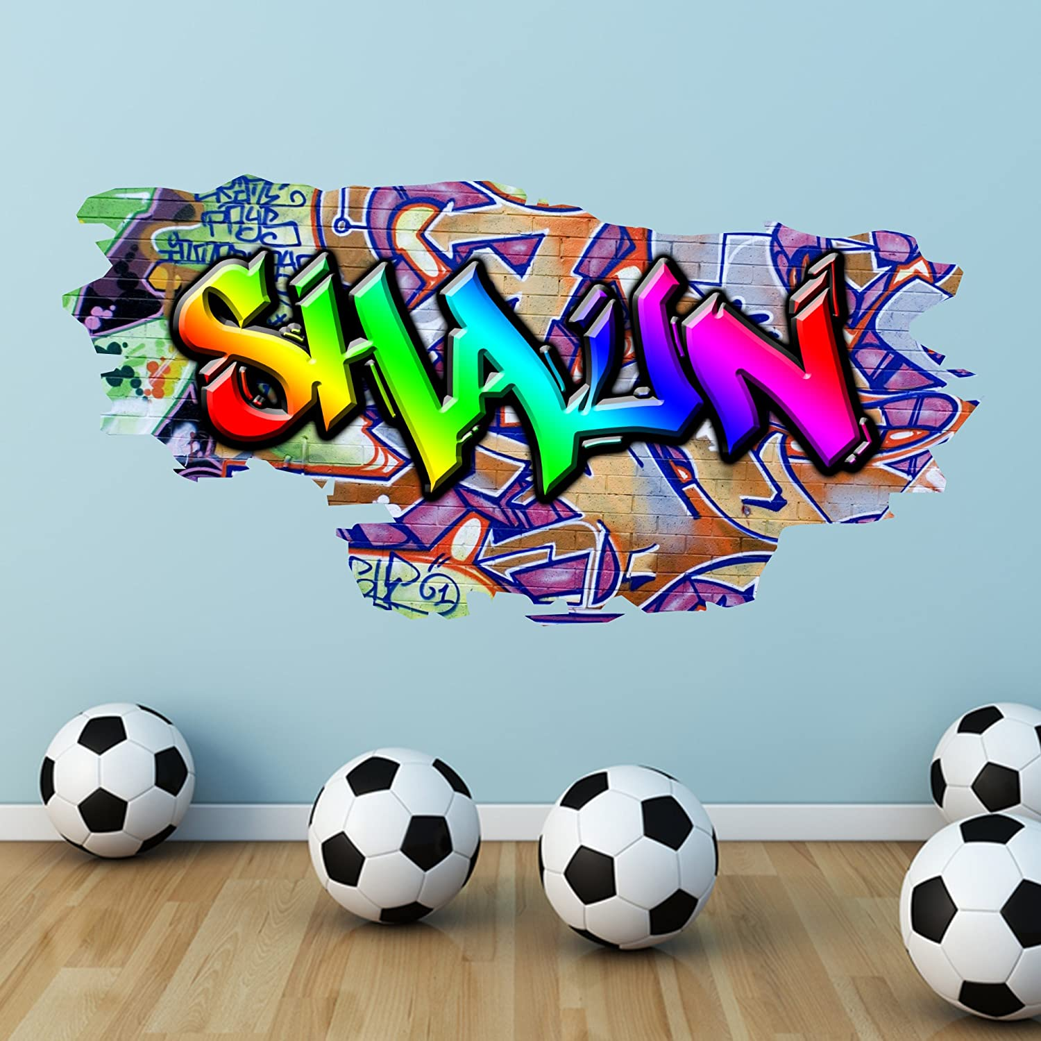 Amazon.com MULTI FULL COLOUR PERSONALISED GRAFFITI NAME Brick Wall Sticker Decal Graphic bedroom transfer mural print by Wall Smart Designs Home u0026 Kitchen & Amazon.com: MULTI FULL COLOUR PERSONALISED GRAFFITI NAME Brick Wall ...