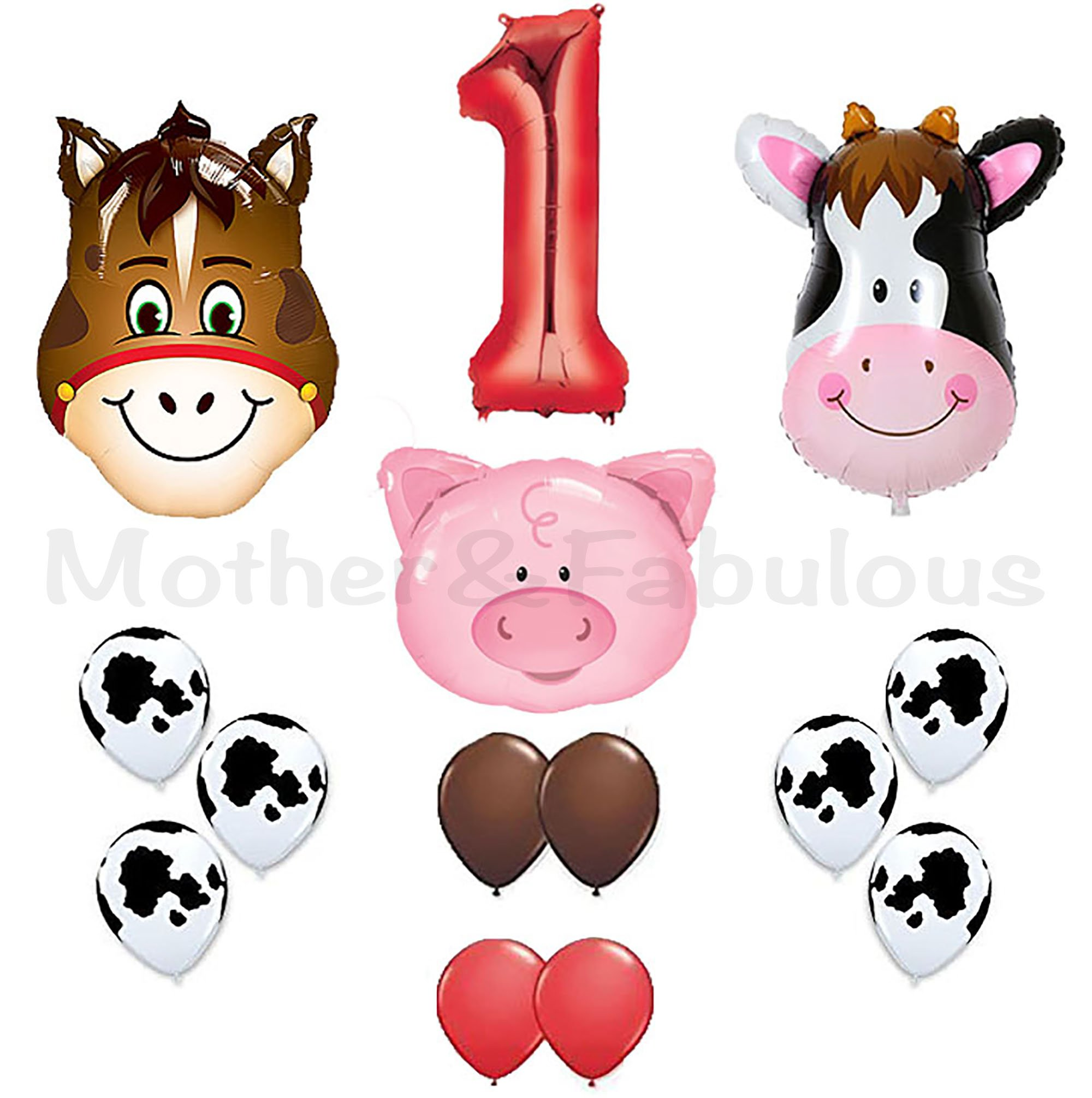 first birthday Farm Animal theme Balloons 36'' Cow ,Donkey And Pig With 12'' Helium Quality Latex Balloons Red Brown And Cow Print Balloons with the number ''1'' red foil balloon . Total Of 40 Count.
