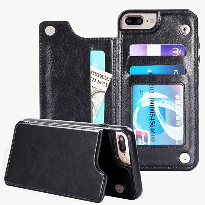release date: 11c73 ad45a iPhone 7 Plus Case Credit Card Holder,PERSEUS-α iPhone 8 Plus Wallet Case  Designer Protective Shockproof PU Leather Kickstand for Apple iPhone 7 ...