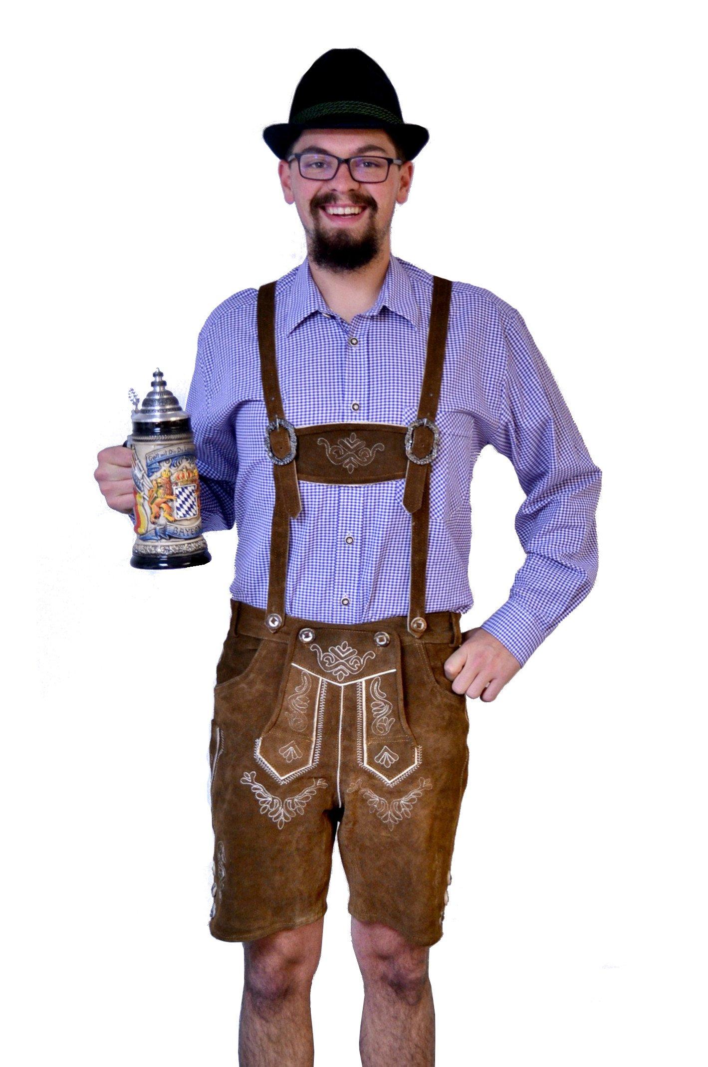 Men's Brown Lederhosen with Suspenders (48)