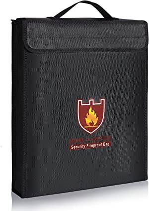 Fireproof Document Bag,ENGPOW Fireproof Water Resistant Pouch with Handle Zipper, Non-Itchy Silicone Coated Fiberglass Envelope, Fire-Resistant Safe Storage of Valuables