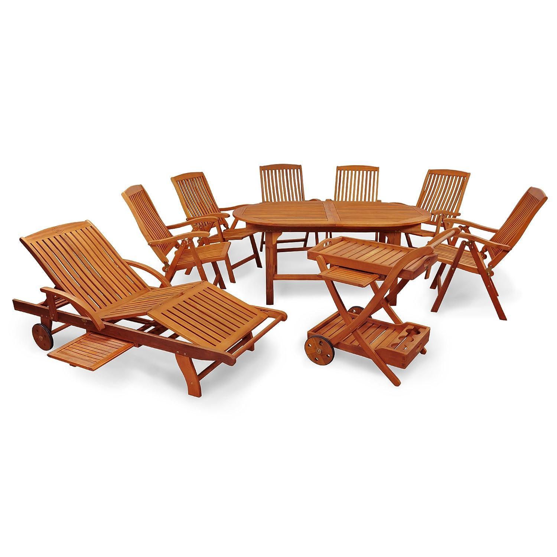 indoba ind 70041 sfse9slsw serie sun flair gartenm bel set 9 teilig aus holz fsc. Black Bedroom Furniture Sets. Home Design Ideas