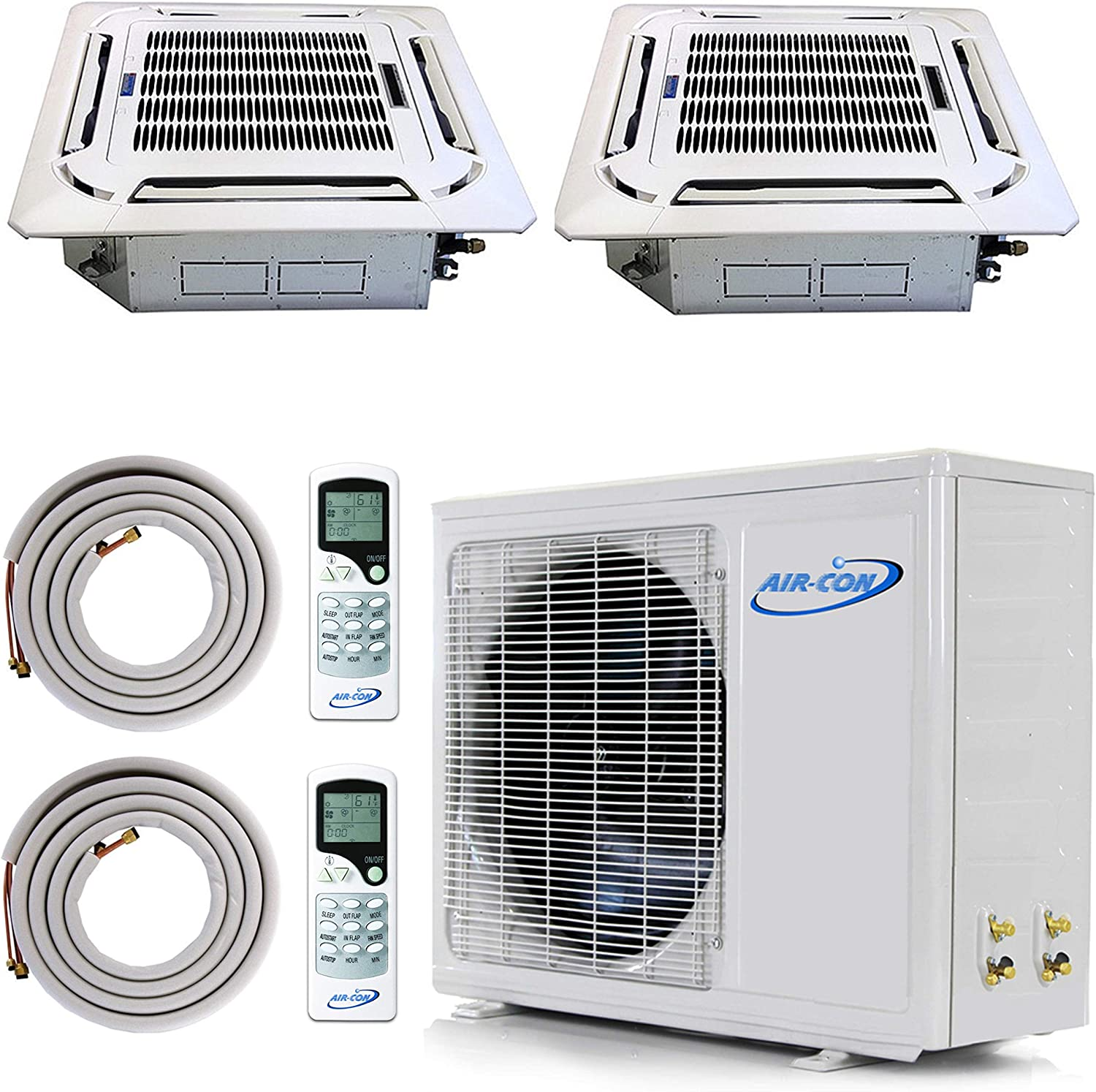 Multi Zone Mini Split Ductless Air Conditioner - Dual 2 Zone 12000 + 12000-Pre-Charged Inverter Compressor - Includes Two Free 25' Linesets - Ceiling Cassette - US Parts