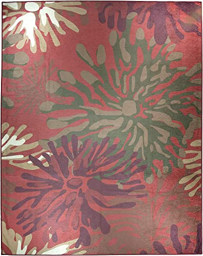RUGGABLE Washable Stain Resistant Indoor Outdoor, Kids, Pets, and Dog Friendly Area Rug, 8 x10 , Mum Floral Red
