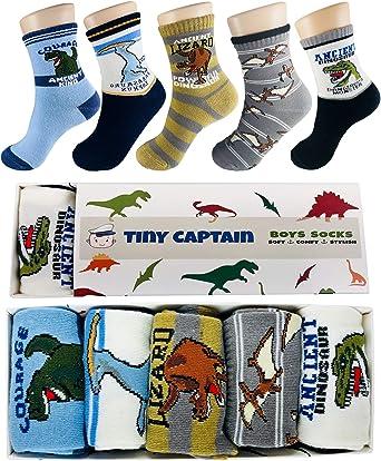 Kids Little Boys Socks Cotton Dinosaur Comfort Crew Socks 5 Pair Pack