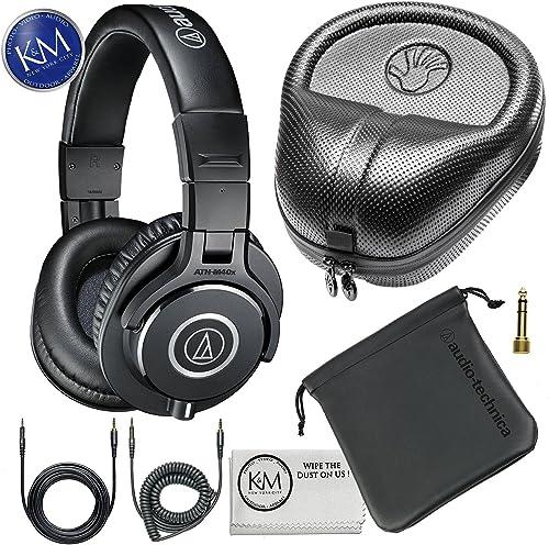 Audio-Technica ATH-M40x Professional Studio Monitor Headphones Slappa Full Sized HardBody PRO Headphone Case SL-HP-07
