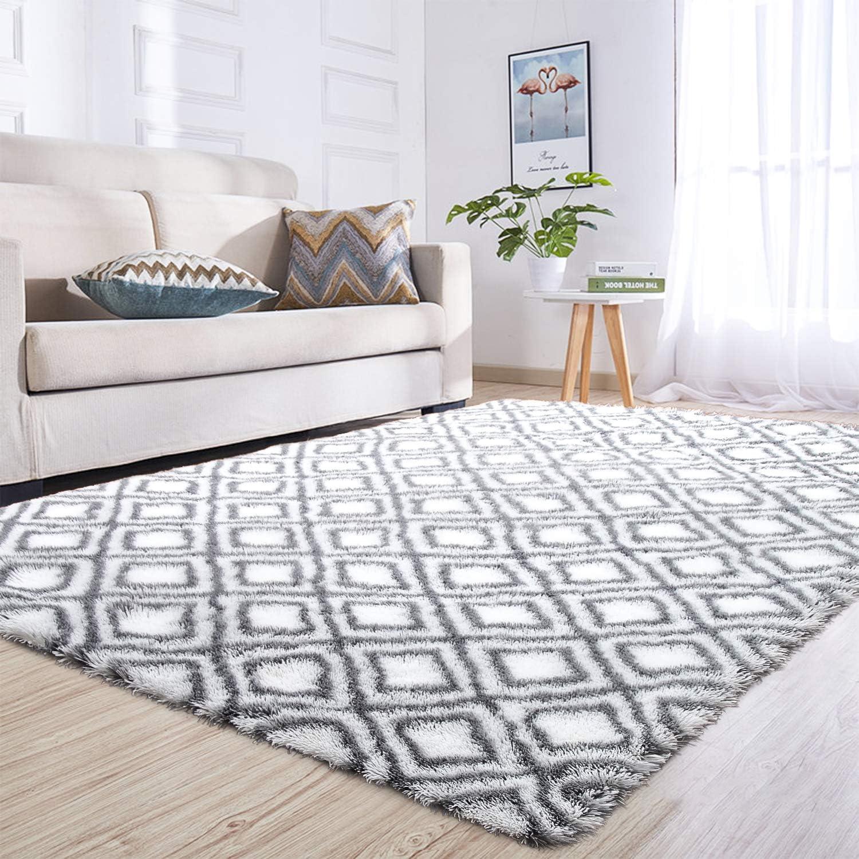 junovo Rectangle Ultra Soft Area Rugs Fluffy Carpets for Bedroom Living Room Shaggy Floor Rug Home Decor Mats, 5ft x 8ft, White Diamond