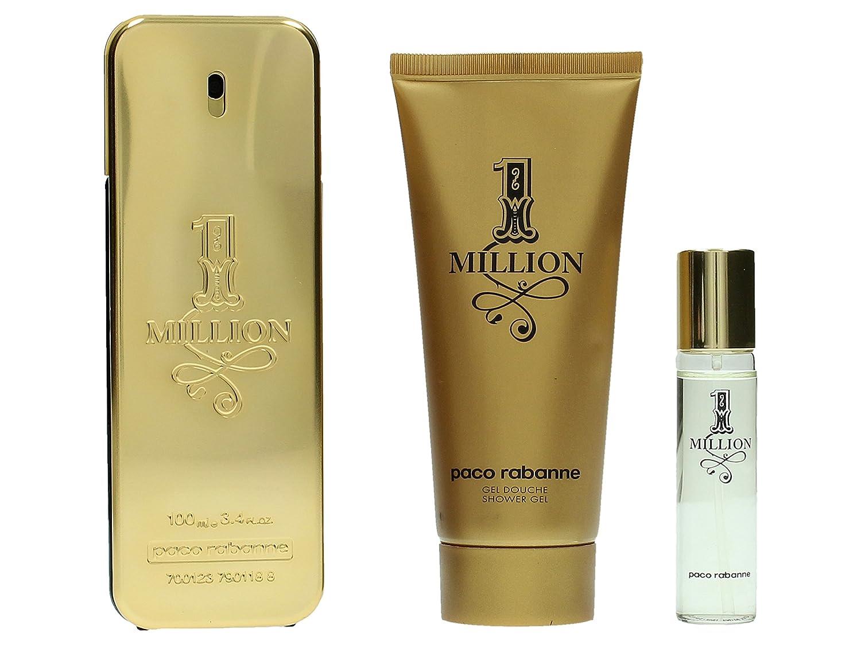Paco Rabanne 1 Million for Men 3 Pc. Gift Set (Eau De Toilette Spray 3.4-Ounce Plus Shower Gel 3.4 Plus Edt 15 ml) 2RQ4020 1Milliongiftset_-215