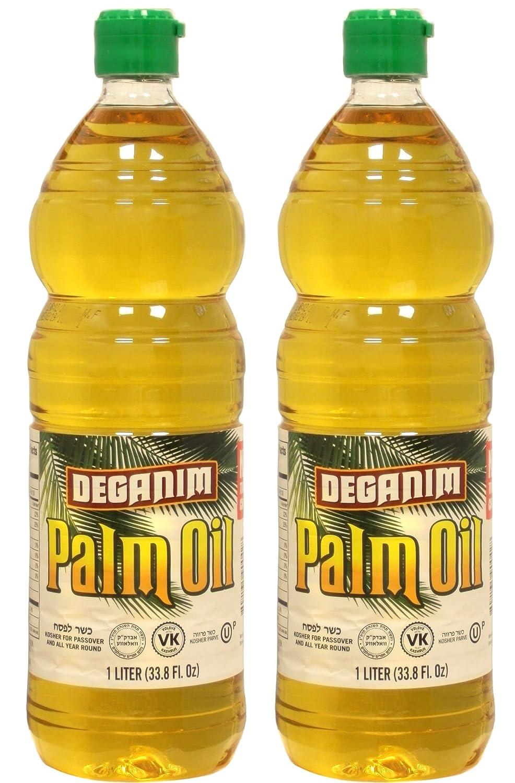Deganim Refined Natrual Palm Oil - 1 Liter Bottle - 33 8 Ounces - 2 Pack
