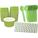 Outside the Box Papers Ice Cream Sundae Kit with 6 Ounce Polka Dot Paper Cups - 24 Pack, Eco Friendly Plastic Spoons - 24 Pack and Polka Dot Paper Straws- 25 Pack Lime Green, White