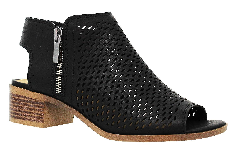 MVE Shoes Women's Ankle Open Toe Cutout Heeled-Sandals - Slip on Low Stacked Heel - Open Peep Toe Cutout Shoe