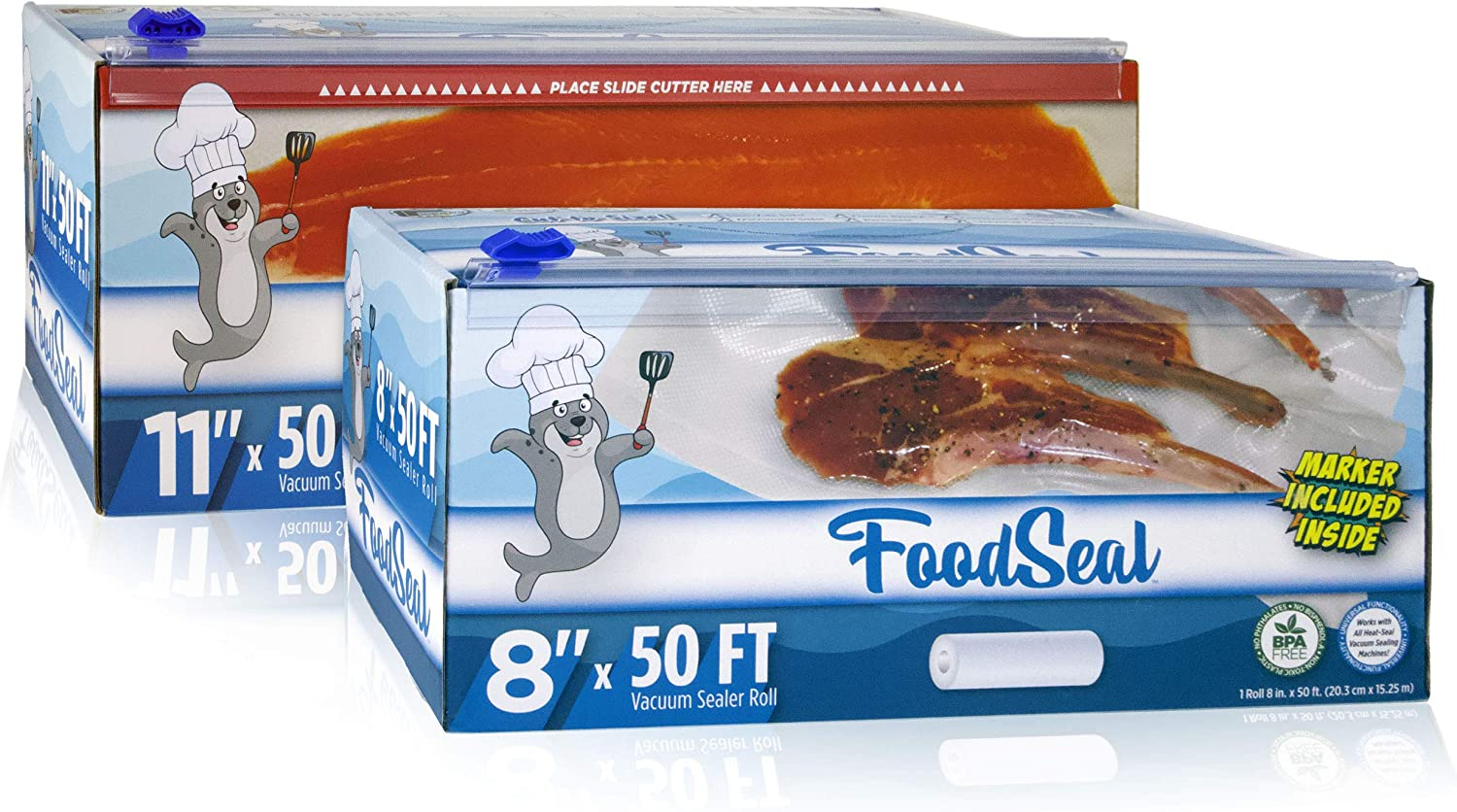 """FoodSeal 8"""" x 50' and 11"""" x 50' Vacuum Sealer Rolls Combo Pack 