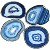 "Extra Blue 4-5"" Natural Agate Coaster with Rubber Bumper Set of 4, By JIC Gem"