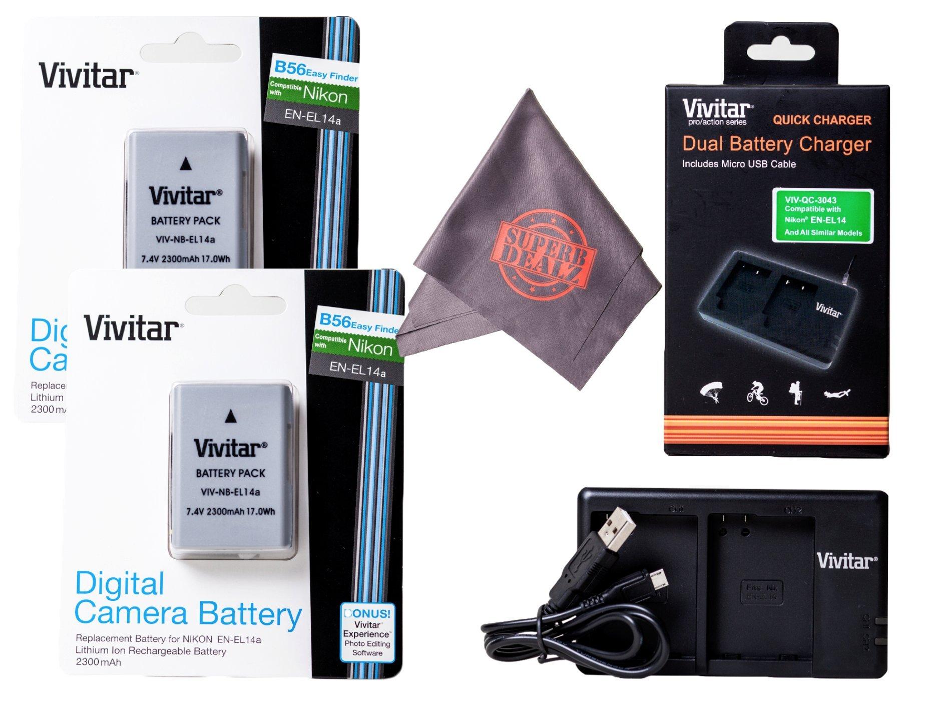 2 Pack of Vivitar EN-EL14 / EN-EL14a Ultra High Capacity 2300mAh Li-ion + Dual Battery Charger + Microfiber Lens Cleaning Cloth EL14 ENEL14 (Nikon EN-EL14 Replacement) by Vivitar