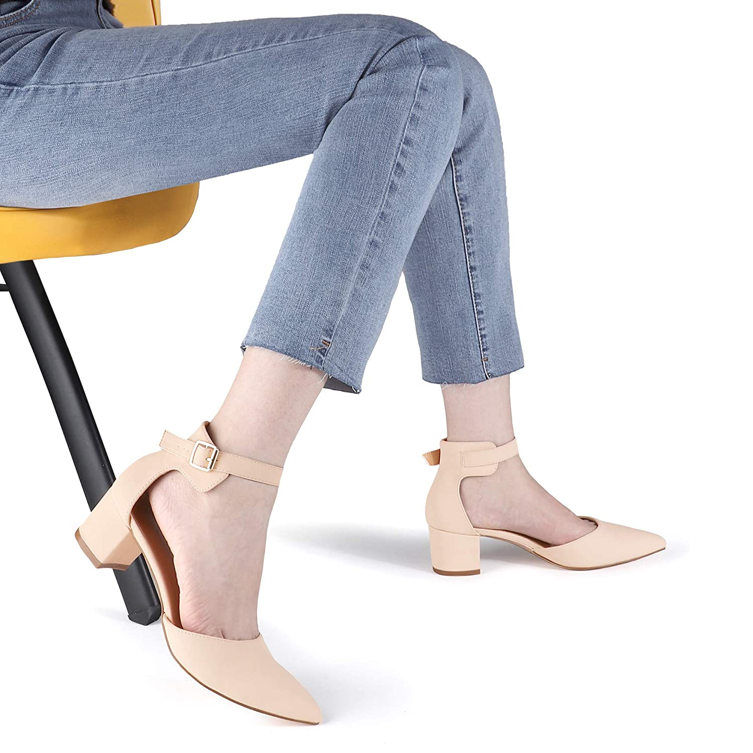SHOWHOW Womens Low Block Heel Closed Pointed Toe DOrsay Heeled Pumps Ankle Strap Dress Wedding Sandals Shoes