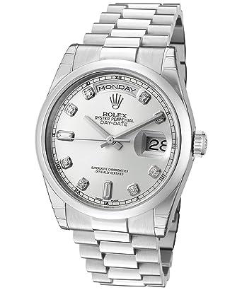 2b52c68256d2 Amazon.com  Rolex Men s Day-Date Automatic White Diamond Silver Dial  President Platinum  Watches