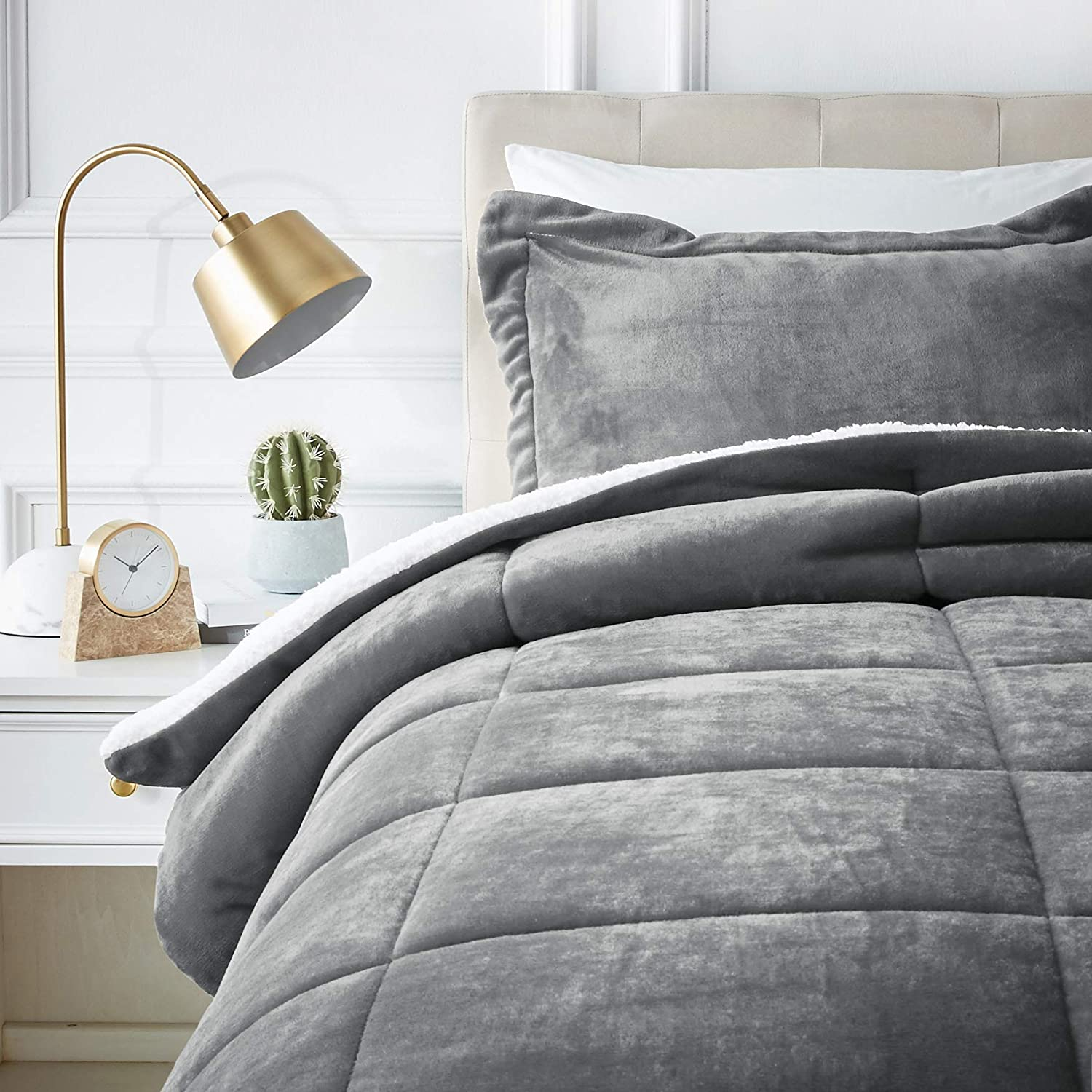 Soft Micromink Sherpa Comforter Bed Set - Twin, Charcoal