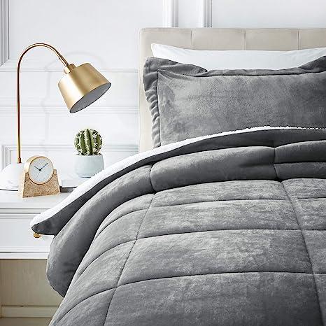Amazon Basics Ultra Soft Micromink Sherpa Comforter Bed Set   Twin, Charcoal by Amazon Basics