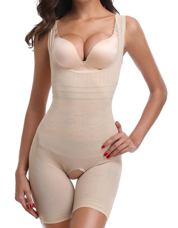 SLIMBELLE Women's Seamless Body Briefer Full Body Shaper Open Bust Mid Thigh Bodysuit Firm Tummy Control