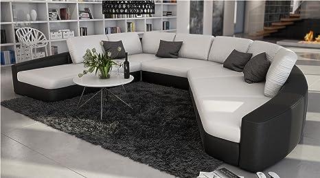 SAM® sofá en color blanco - Negro domencia 290 x 380 cm ...