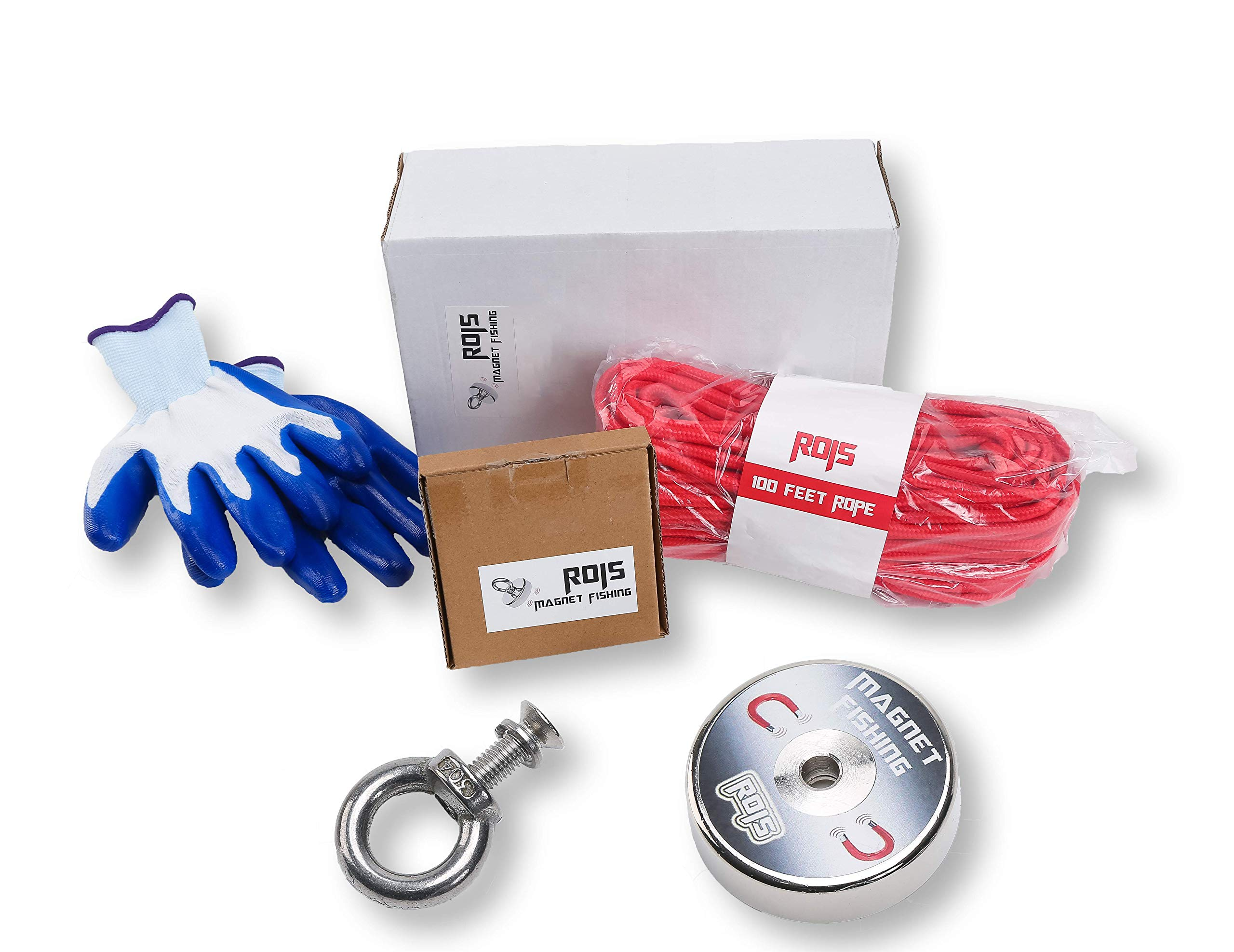 Super Powerful Magnet Fishing with Diameter 2.36'' and Maximum Pulling Force of 380lbs Including 100 feet Rope and Protection Gloves - Locked Eyebolt