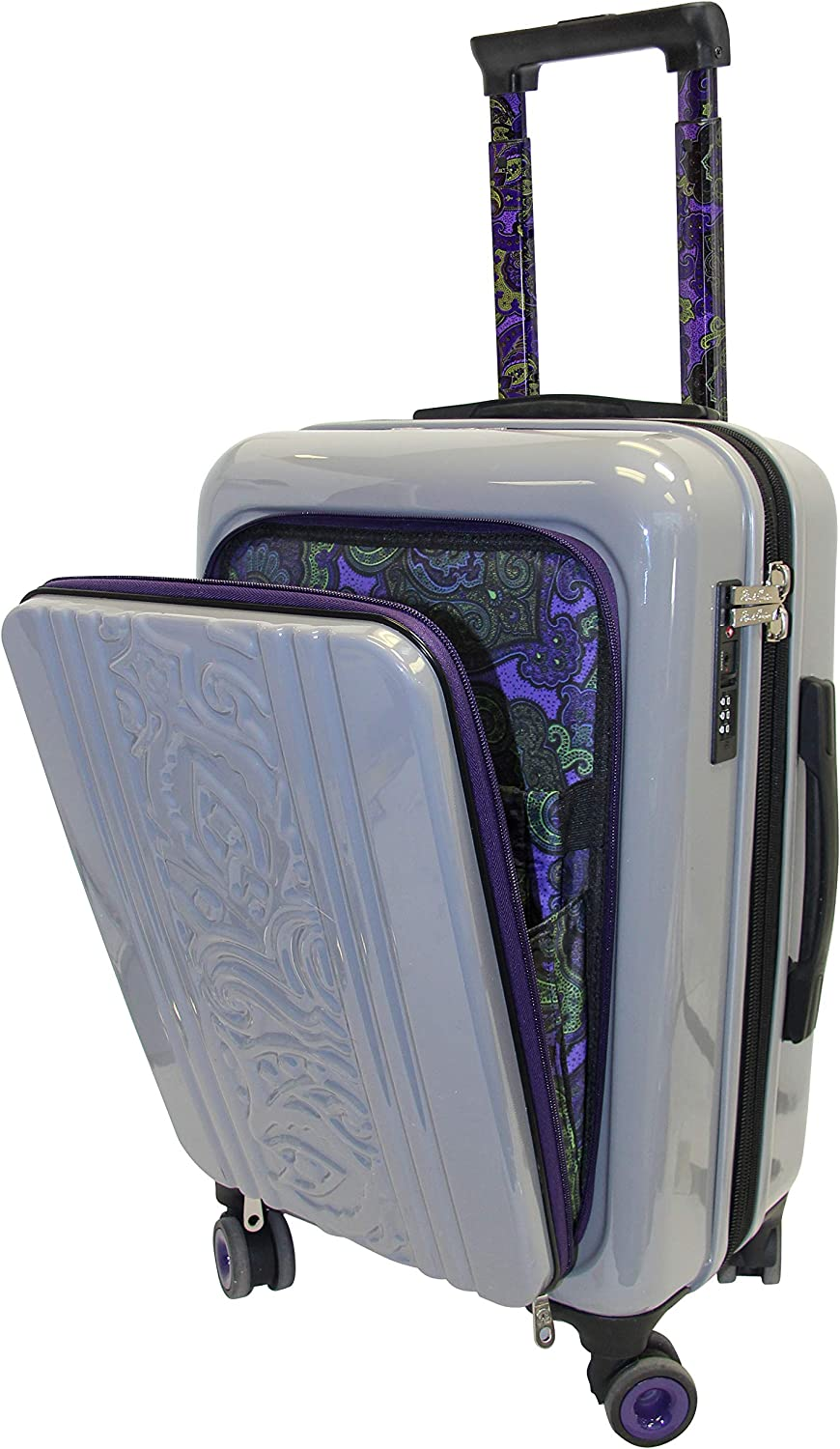 Robert Graham Carry-on Suitcase Hardside Luggage w/Easy Access Laptop Pocket, Grey and Bold Purple Paisley Lining