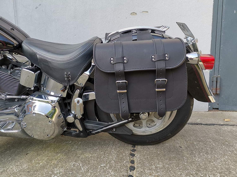 Apollo Special von ORLETANOS kompatibel mit Harley Davidson Satteltasche Seitentasche Linke Seite Ledertasche Fatboy Heritage Shovelhead Panhead Softail Rahmen Halter schwarz Leder