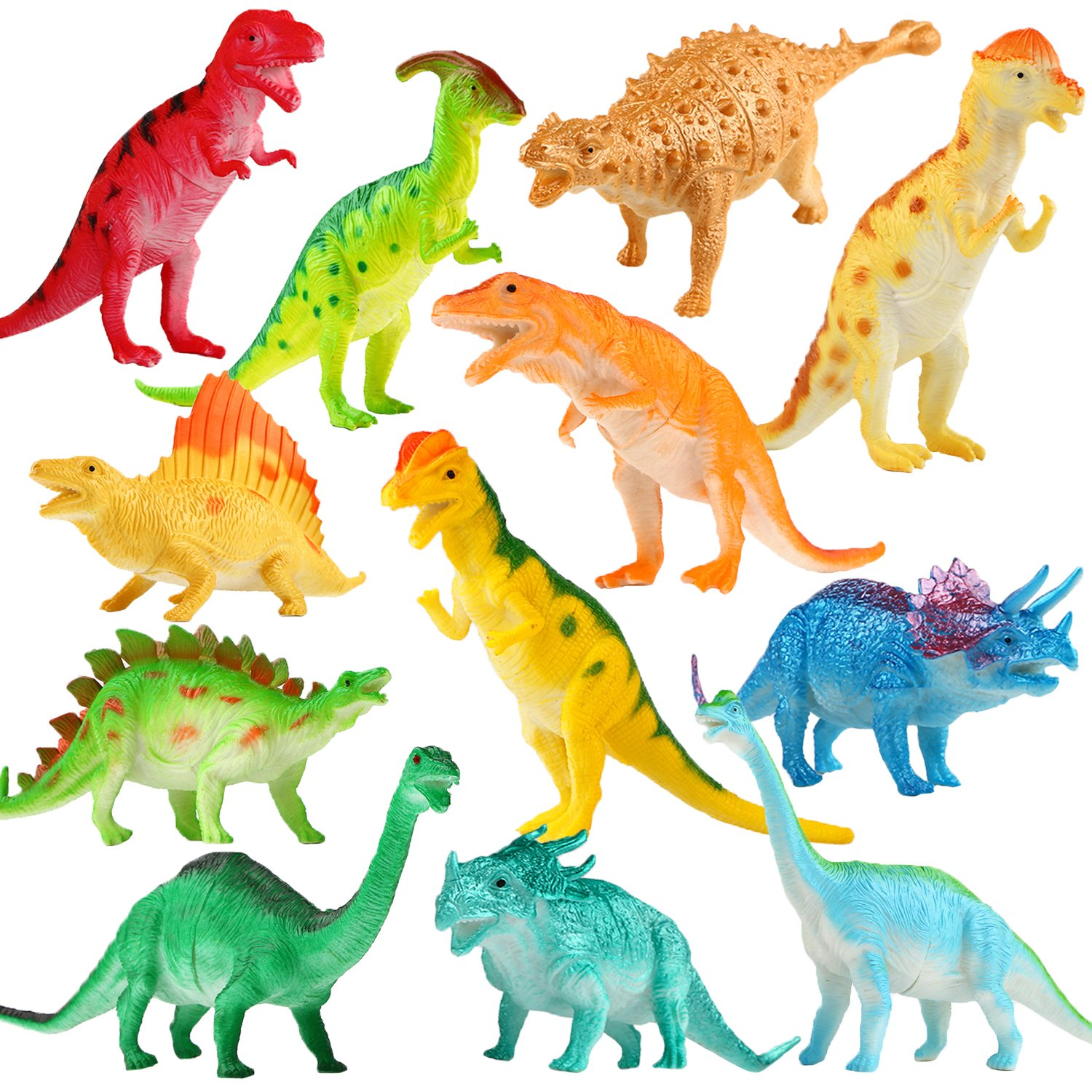 Dinosaur Figure, 7 Inch Jumbo Dinosaur Toy Playset(12 pack), Safe Material Assorted Realistic Dinosaur,Yeonha Toys Vinyl Plastic Dino Dinosaur Set Party Favors Toys For Kids Boys Toddler Educational