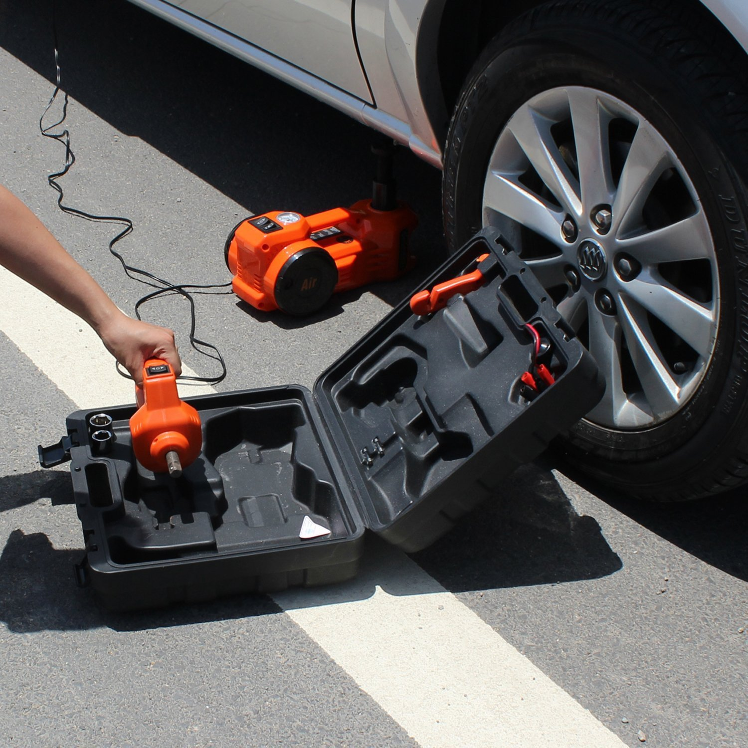12V DC 1 Ton Electric Hydraulic Floor Jack Set with Impact Wrench For Car Use (6.1-17.1 inch, Orange) by EAMBRTE (Image #1)