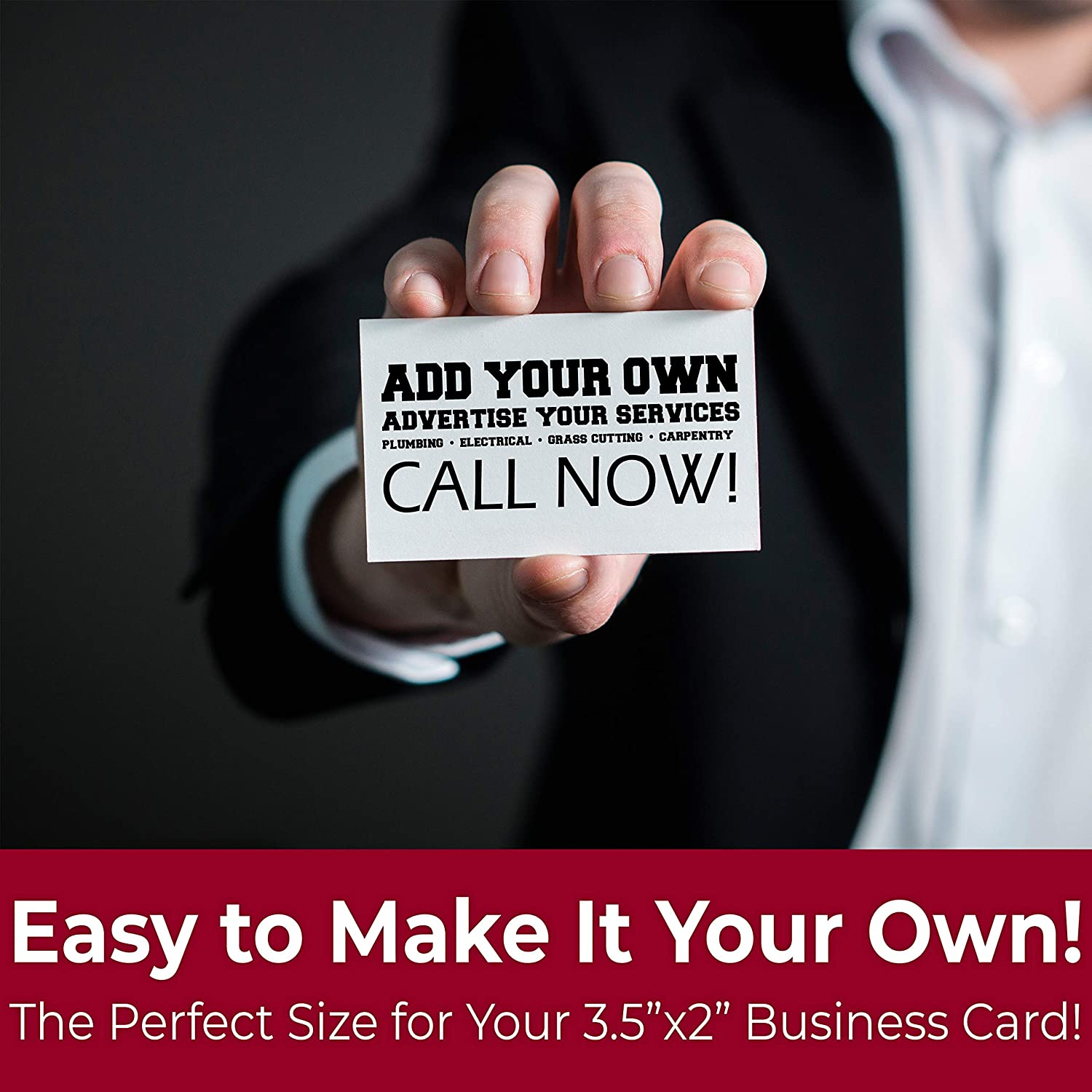 Pro-Grade Adhesive Business Card Magnets 100pk Strong Blank Peel-and-Stick 2in x 3.5in Magnetizers Turn Company Cards Into Magnetic Contact Info Flexible and Small for Realtors Ads and Promotions