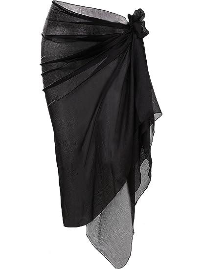 8af14a58ae Hestya Women Pareo Swimsuit Beach Swimwear Gradient Color Bikini Sarong  (Black)