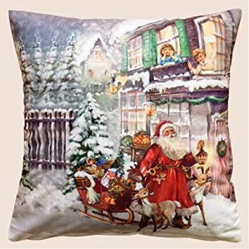 Bilder Weihnachten Nostalgisch.Weihnachten Kissenhülle Fotodruck Nostalgisch 40 X 40 Cm Kuschelig Weiche Velour Qualität Weihnachtsdeko Schlitten Und Weihnachtsmann Kissen ökotex