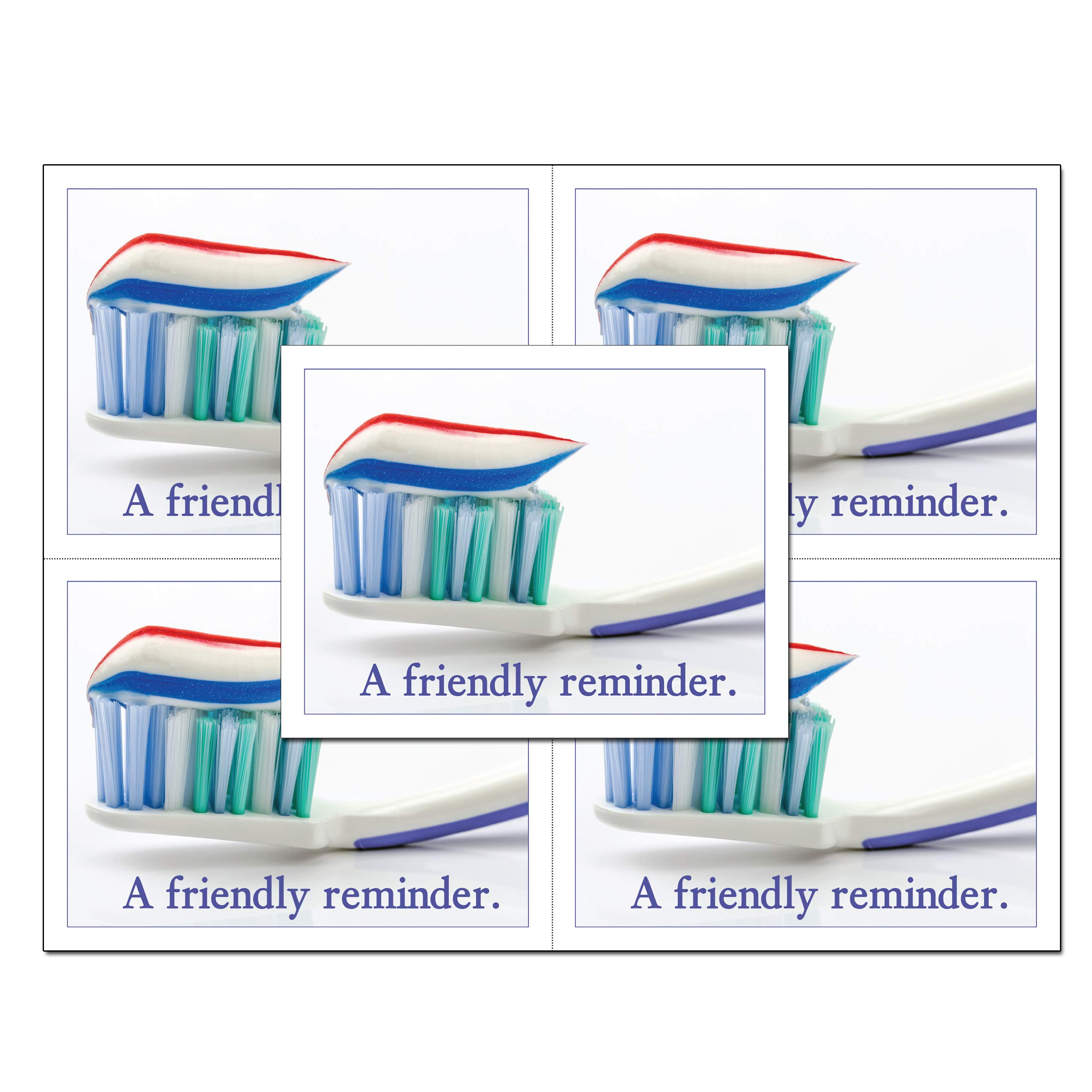 Laser Reminder Postcards, Dental Appointment Reminder Postcards. 4 Cards Perforated for Tear-off at 4.25'' x 5.5'' on an 8.5'' x 11'' Sheet of 8 Pt Card Stock. (1000)