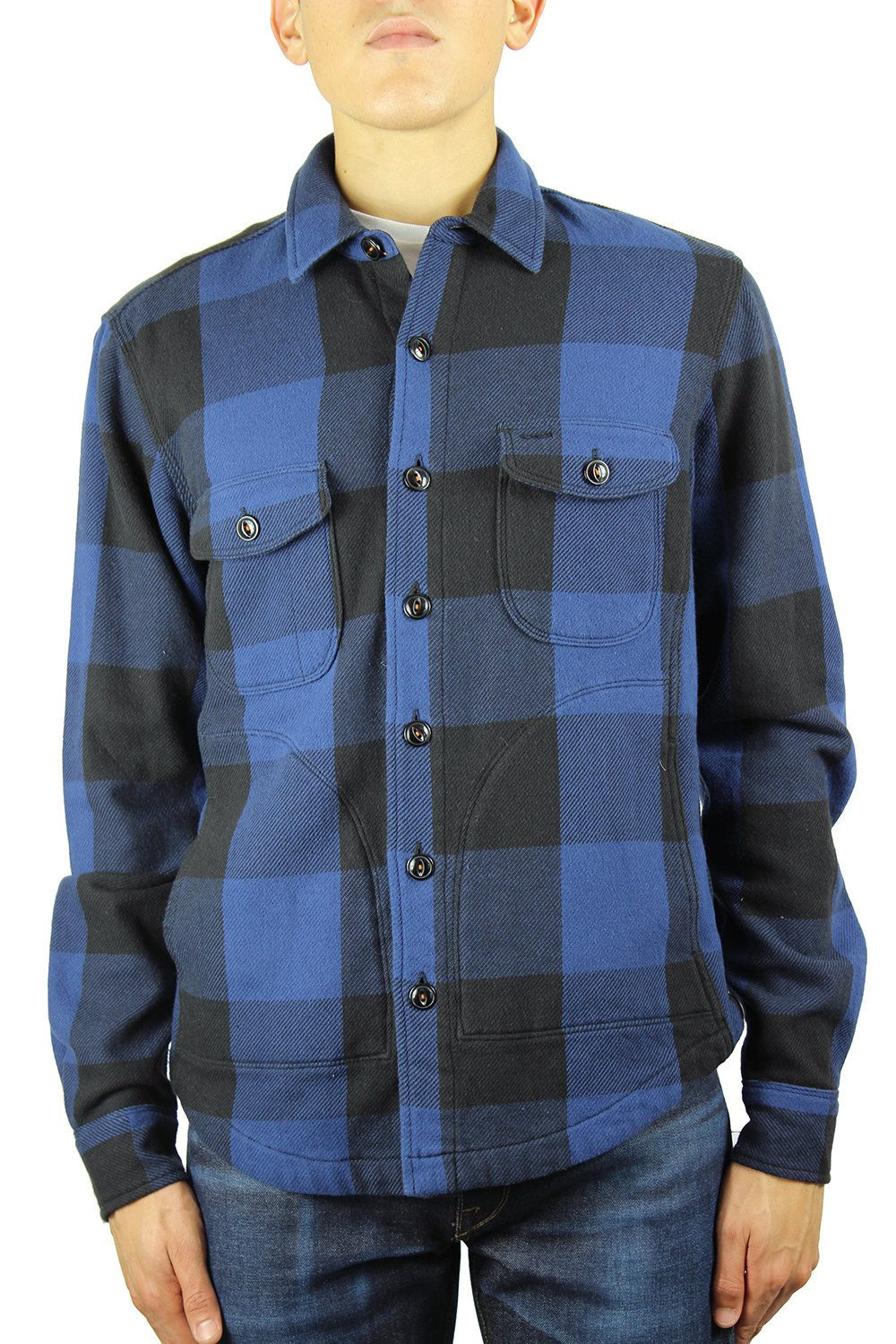 HIROSHI KATO Shirts Jacket 100% Cotton Buffalo Check Blue XL