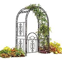 "Plow & Hearth Montebello Garden Arbor With Gate - Tubular Iron - Burnished Bronze Finish - 54""W x 23""D x 84""H"