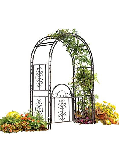Montebello Decorative Garden Arbor Trellis With Gate, Scroll Design,  Tubular Iron Structure With 7