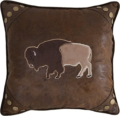 Carstens, Inc Carstens Wrangler Faux Leather Buffalo 18×18 Throw Pillow, Brown