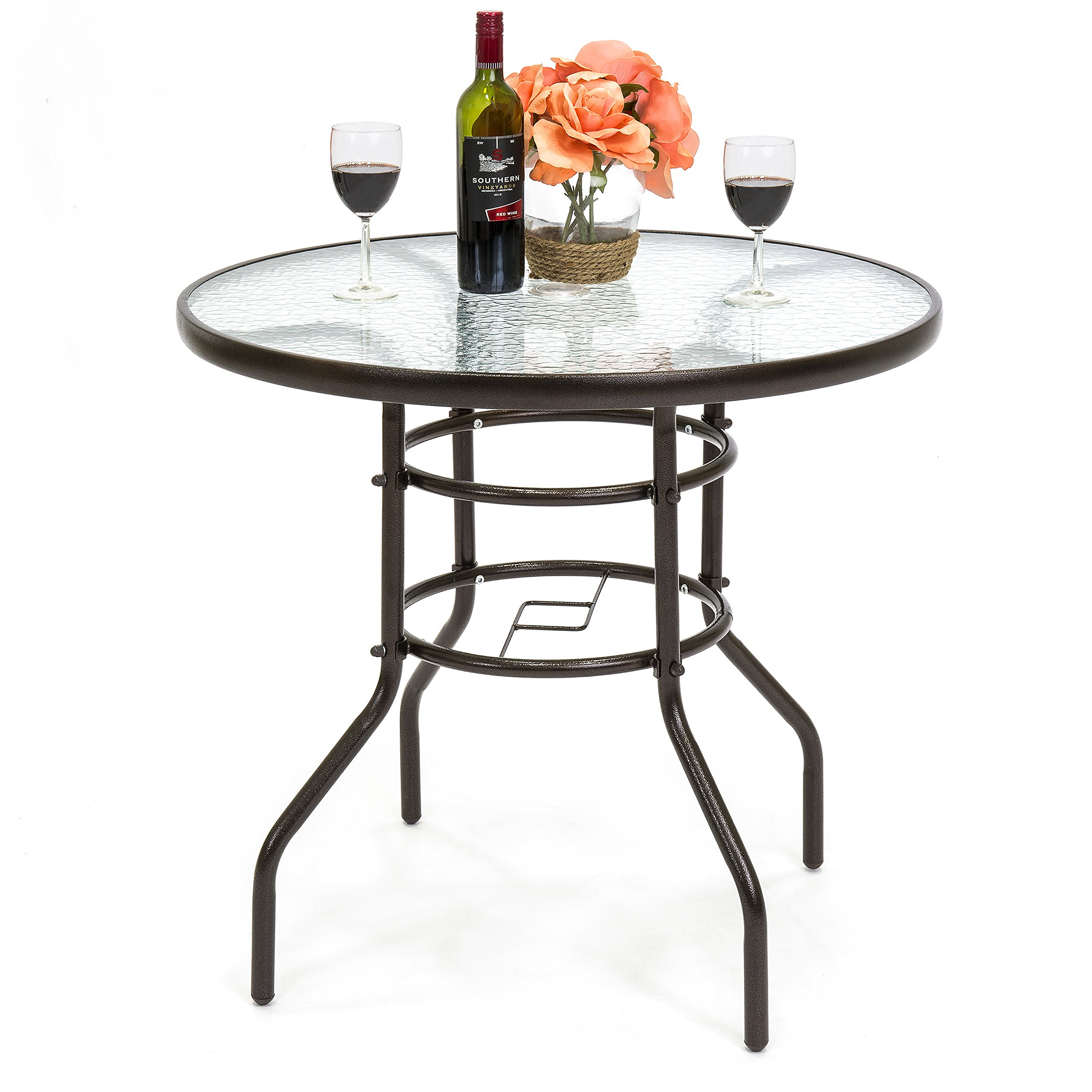 Best Choice Products 32in Round TemperedGlass Patio Dining Bistro Table w/Umbrella Stand -Dark Brown