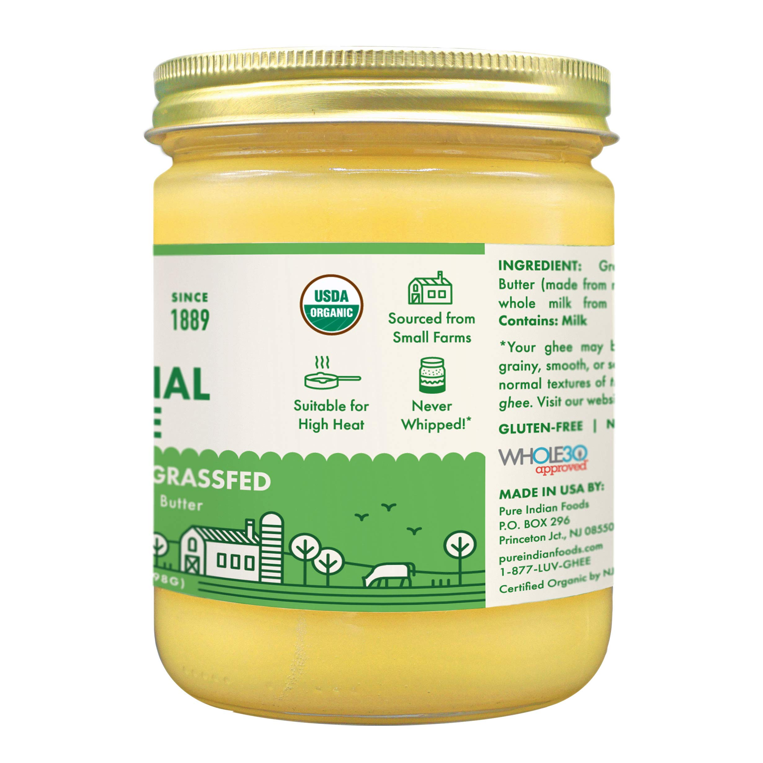 Grassfed Organic Ghee 14 oz (One Pint or 16 fl oz) by Pure Indian Foods (Image #2)