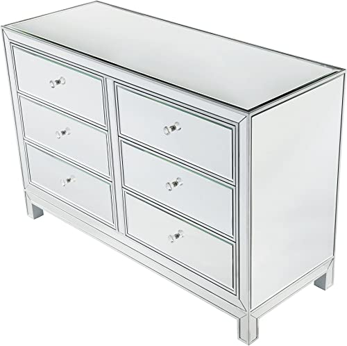 Decor Central Drawers and Rectangle Mirror Top Dresser, 48 , Antique Silver Paint Finish