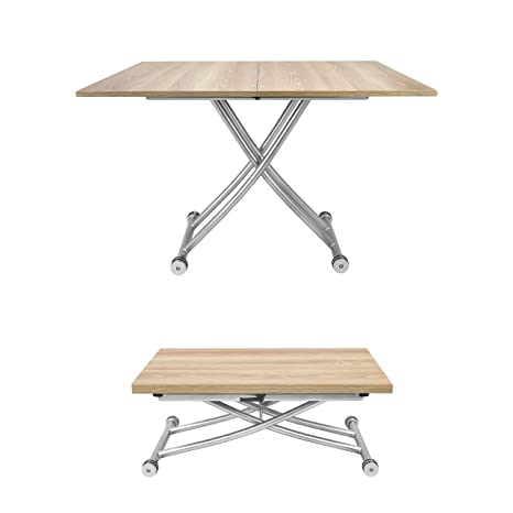 Spacemaster X Convertible Adjustable Coffee And Dining Table Light Wood