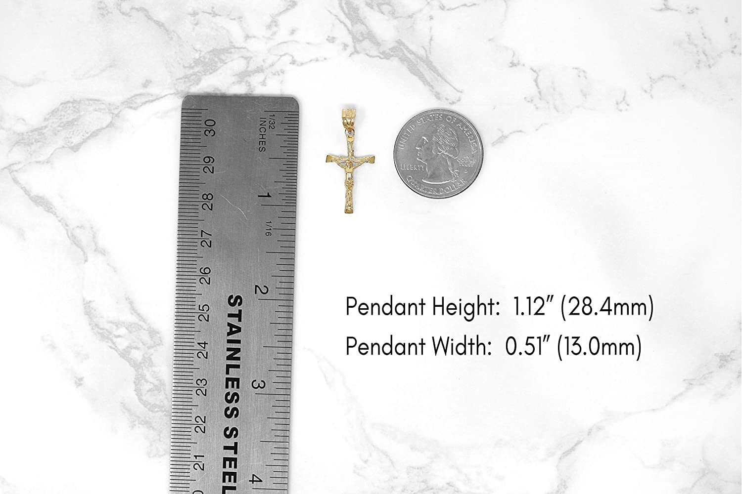 CaliRoseJewelry 10k Yellow Gold Jesus on The Cross Crucifix Textured Pendant Necklace