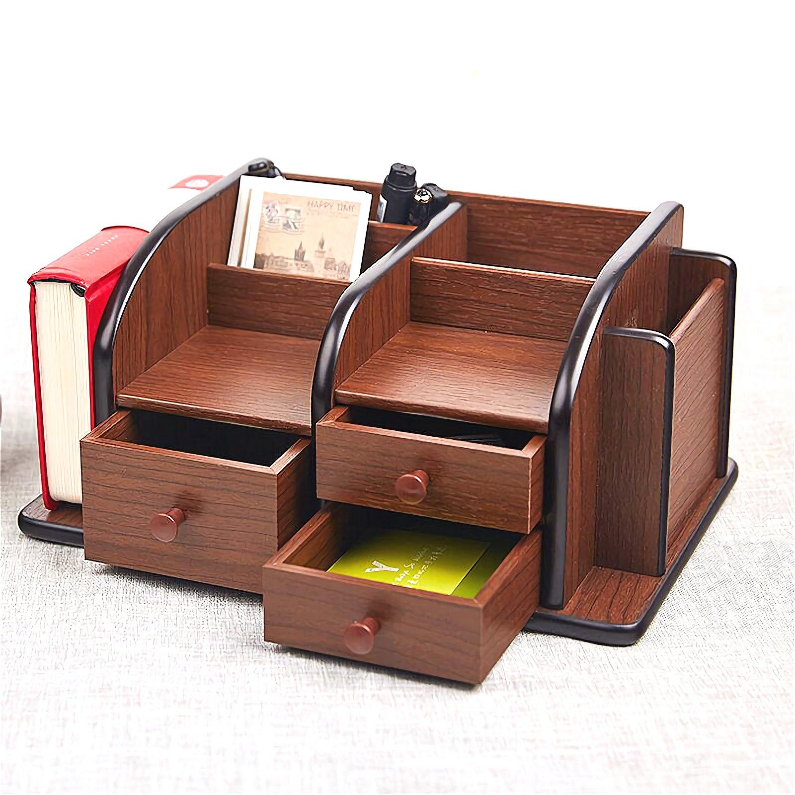 Siveit Wooden Desk Organizer, Wood Desktop Organizer with 3 Drawers 2 Shelves and 3 Compartments Office Supplies Holder Desk Accessories (Desk Organizer-3+3+2) by Siveit (Image #5)
