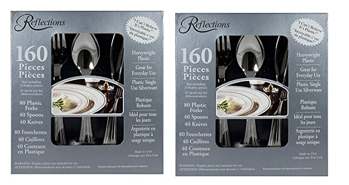 """Reflections Heavyweight """"Looks Like Silver"""" Disposable Flatware, 160 Piece (Pack of 2)"""