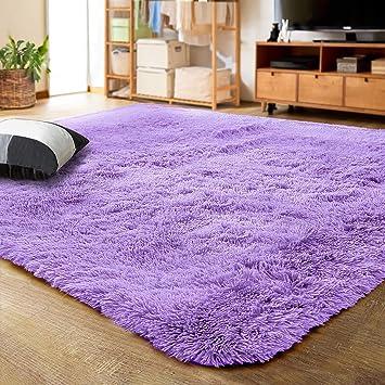 Amazon Com Lochas Ultra Soft Indoor Modern Area Rugs Fluffy Living Room Carpets For Children Bedroom Home Decor Nursery Rug 4x5 3 Feet Purple Furniture Decor