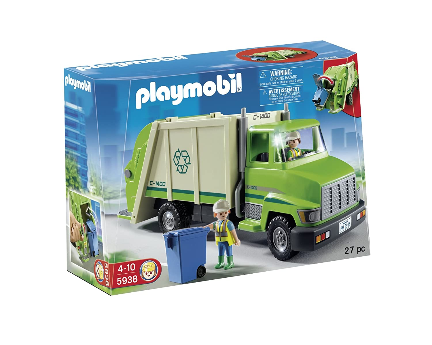 Amazon.com: PLAYMOBIL Green Recycling Truck: Toys & Games