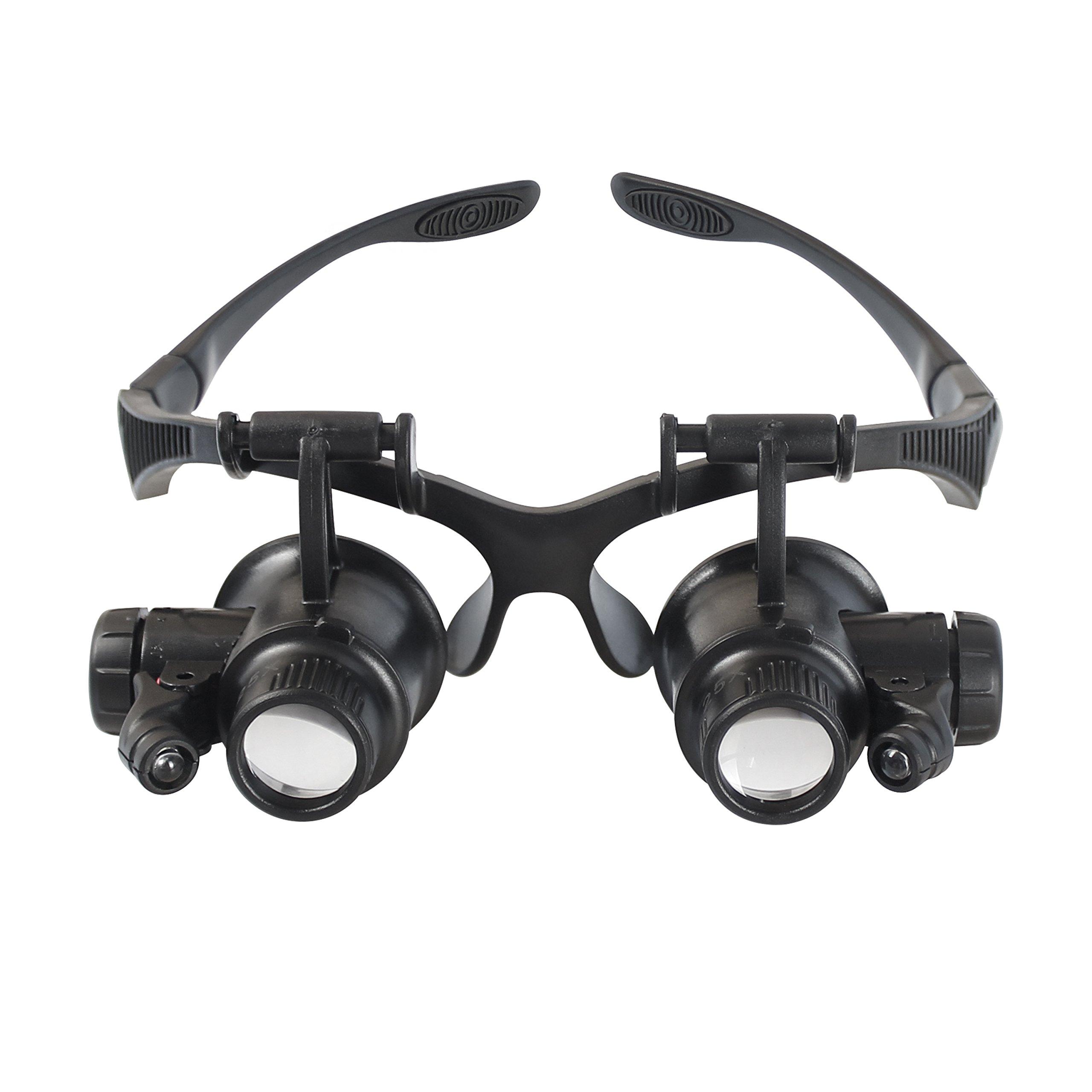 Aomekie LED Illuminated Double Eye Jeweler Watch Repair Magnifying Glasses Loupe Headband Magnifier -8 Interchangeable Lens: 2.5X/4X/6X/8X/10X/15X/20X/25X