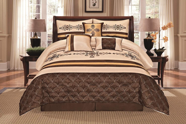 New Elegant Embroidered Gold Brown Beige 7 pcs Comforter Set