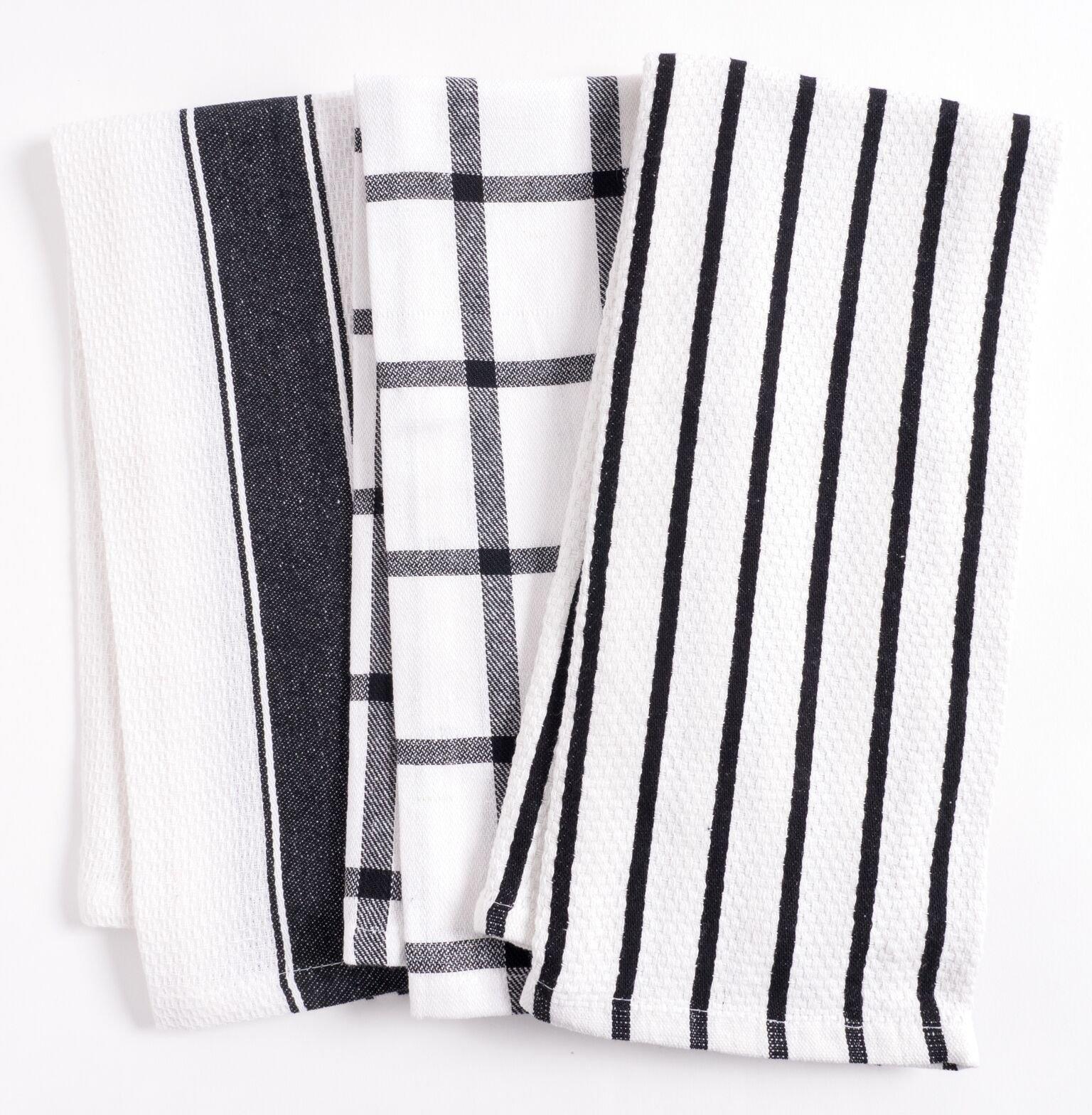 KAF Home Pantry Cuisine Kitchen Towels, Set of 6 100% Cotton Mixed Kitchen Towel Set (18 x 28 Inches) - Black